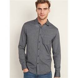 Regular-Fit Textured-Pattern Long-Sleeve Shirt for Men