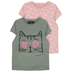 Cat Print Khaki T-Shirts 2 Pack