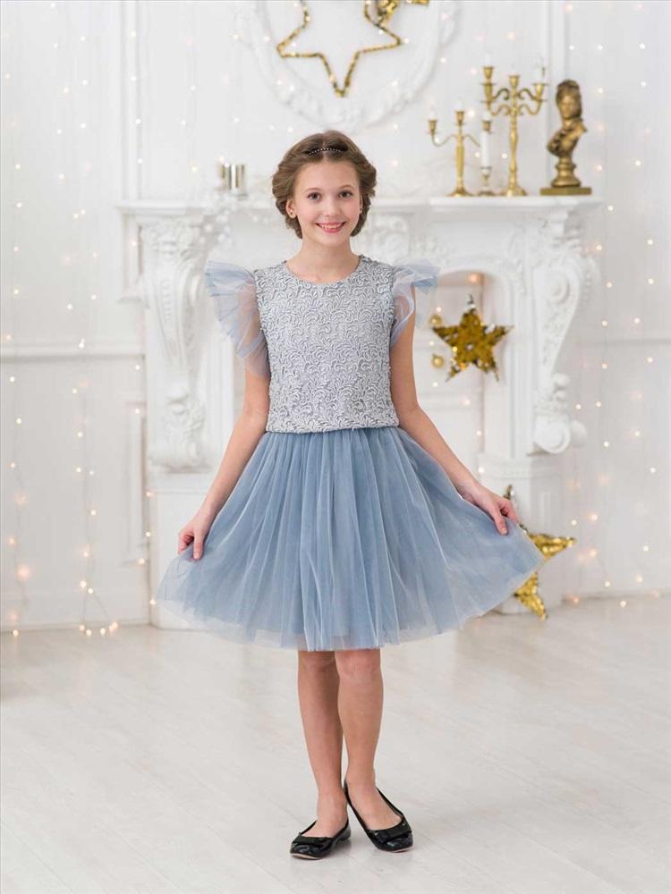 c4a6e26a176 Детское нарядное платье «Амира» серое