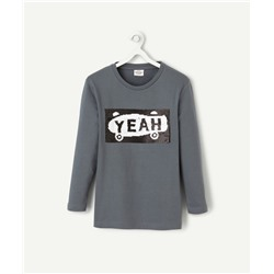 GREY T-SHIRT WITH REVERSIBLE SEQUINS