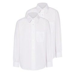 Girls White Long Sleeve School Shirt 2 Pack