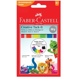 "Масса для приклеивания Faber-Castell ""Tack-It Creative"", 50г., цветная, картон. уп., европодвес"